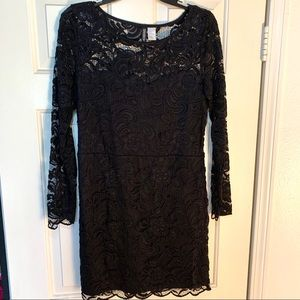 Black Long Sleeved Lace Cocktail Dress